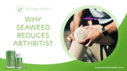 Man with aching knees and a box and bottle of Pacific Sea Moss with text overlay that says Why Seaweed Reduces Arthritis?